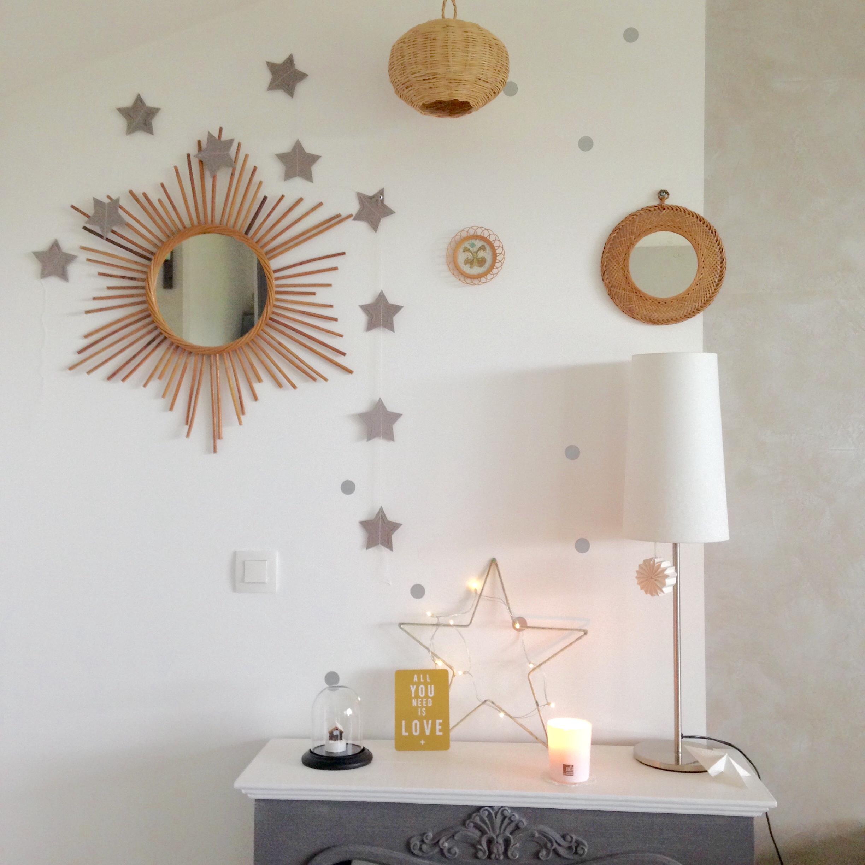 White Cocooning Decoration Murale Miroir Brocante